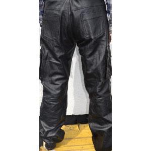 Black Leather Padded Biker Pants
